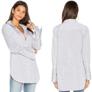 NWT EQUIPMENT ARLETTE Pinstripe Cotton Button U
